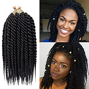 Havana Twist Crochet Hair 6 Packs Crochet Twists Jumbo Braid Crochet Hair 2X Jumbo Senegalese Twist Crochet Hair 12 Inch Jumbo Havana Twist Crochet Braids 12 Roots/Pack  12Inch 1B …
