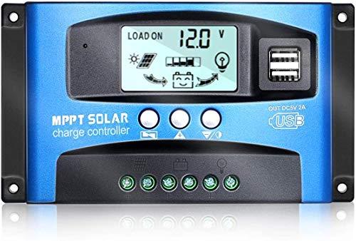 Regolatore di Carica Pannello Solare MPPT 12V/24V Dispositivo di Tracciamento auto Focus con Display LCD e Porta USB Doppia (100A)