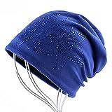 BUXIANGGAN Gorro Beanie Sombrero Sombrero De Flor De Diamantes De Imitación A La Moda para Mujer Gorros Cálidos Gorro Grueso Gorros De Mujer Kintted Skullies Azul