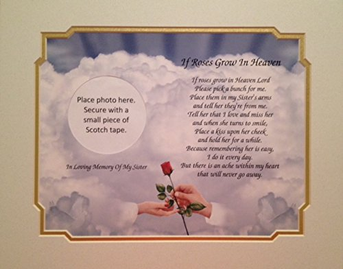 In Memory of Sister 'If Roses Grow In Heaven' Memorial Poem For Loss Of Sibling With Hands With Rose Background