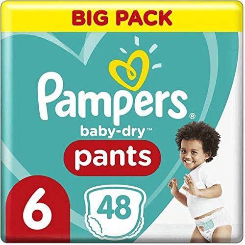 Pampers Baby-Dry - Pañales para bebé (6, 48 pañales, 15 kg, 2 unidades)