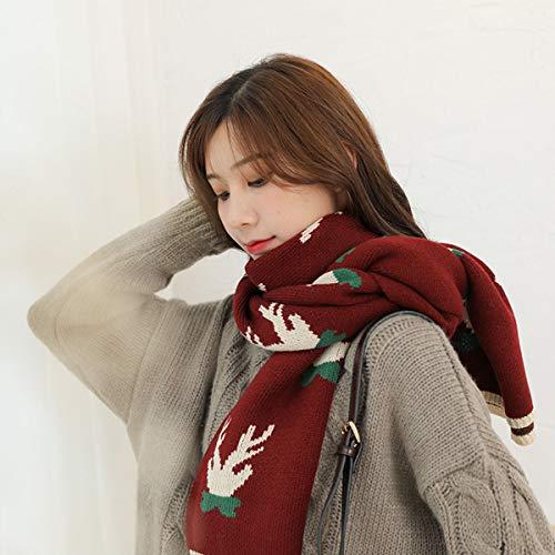 JX-Weijin Winter Sjaal voor Vrouwen En Mannen - Reindeer Antlers Kerst Sjaals -Dames Gebreide Sjaal Warm Fawn Sjaal