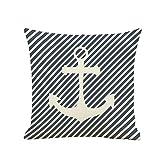 BIGBOBA. Lino sofá cojín patrón de Funda de Barco Pirata Suave Decorativo Sofá Almohada Azul patrón de Color Blanco de Onda Wave Funda de cojín 45 * 45 cm (D)