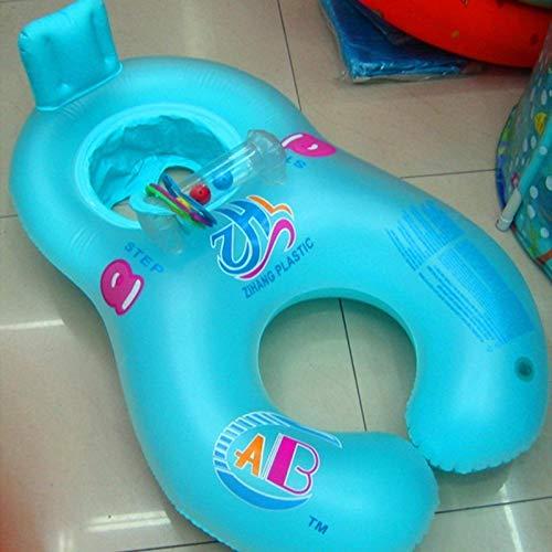 N-B Anillo Flotante para Piscina de bebé, Sombra portátil de Verano, Anillo de natación de Seguridad Inflable, Asiento Doble para Padres e Hijos, Anillo Flotante para Barco