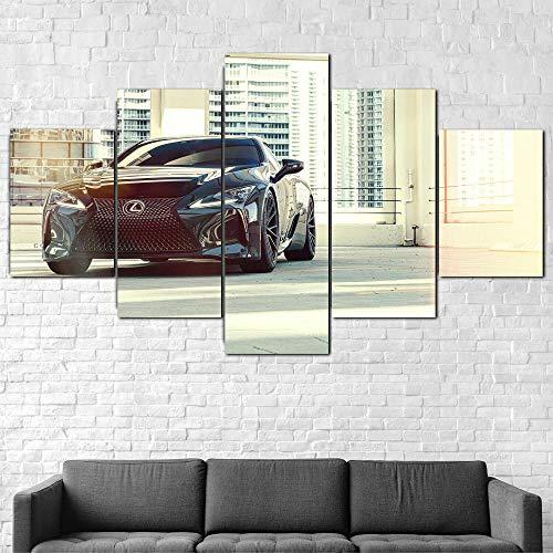 AWER Canvas Wall Art Coche de lujo Lexus LC500 2020 5 piezas de lienzo Foto Regalo Moderno Decoración Decorativo para Tu Salón o Dormitorio Mural Hd Con Marco