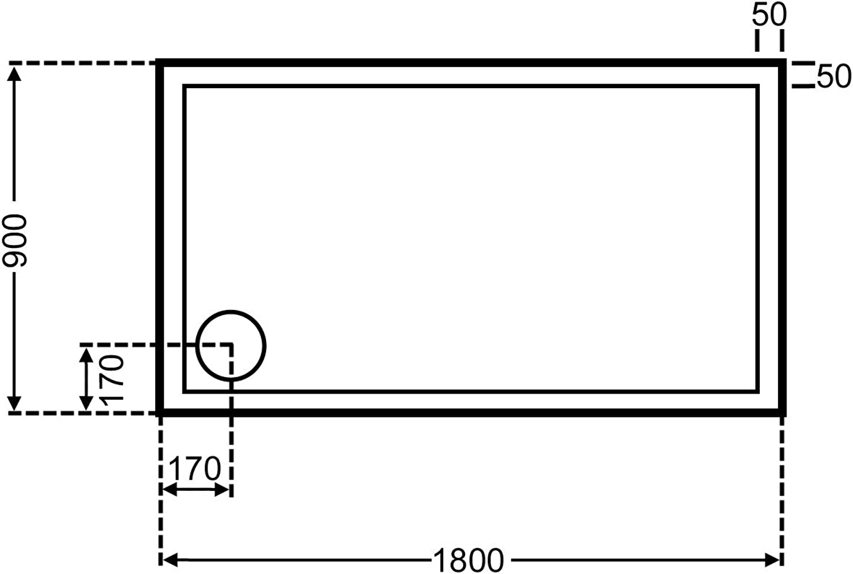 Unbekannt duschwanne Rechteck wei 90x180cm x2,5cm