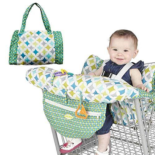 PER 2-in-1 Warenkorb Cover Grün Muster Hochstuhl Cover Schutzkissen Full Safety Harness Universal Fit Faltbar Und Waschbar Für Baby Kleinkinder