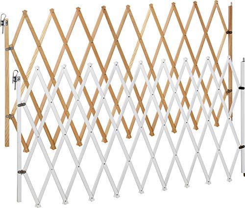 ib style® LIN XXL Absperrgitter für Hunde   Ziehharmonika  Holz  Natur   62-230 cm
