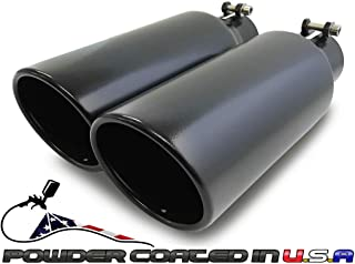 """Pair of two universal angle cut coated black exhaust tips 2.5/"""""""