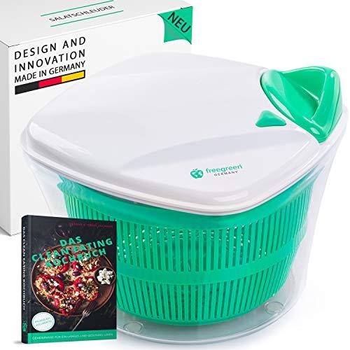 freegreen® Premium Salatschleuder [5L] mit patentierten Zugmechanismus, Siebeinsatz & Deckel mit integriertem Wasser-Ausgießer I Salatschüssel zum stilvollen Servieren