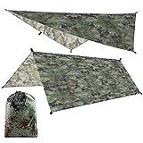 Lona impermeable y antiultravioleta, ligera y gruesa, protección contra la lluvia y el sol, parasol multipersona, toldo para viajes de camping (camuflaje)