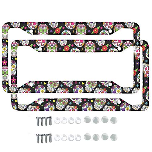 HUISEFOR Sugar Skull Car Accessories License Plate Frame Sugar Skull Print Aluminum Metal License Plate Cover with Screw Caps for US Standard Size 12X6 inches