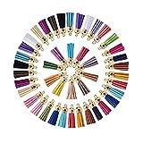 Rmeet Colgantes de Borlas,100 Pack Mini Borla de Cuero con Gorra para Hacer Artesanías de Llaveros Fabricación de Joyas de 40 mm Colores Surtidos