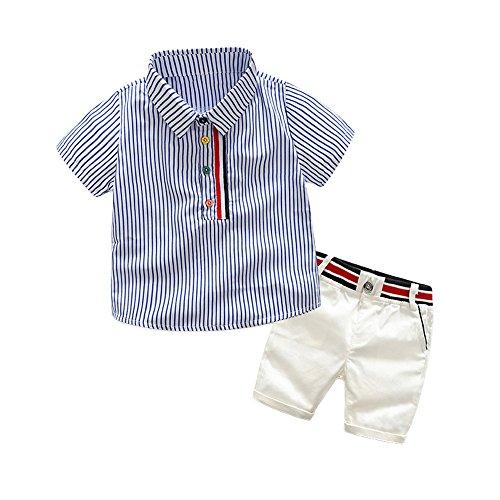 TEM Doger 2piezas de verano para niños Baby Boys Polo camisas Tops + pantalones trajes ropa conjuntos,  Azul, 100 cm/3 Años