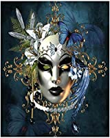 QMGLBG 5Dダイヤモンド塗装家の壁の装飾のための美しい女性マスクダイヤモンドの絵画芸術の工芸品のお土産40*50cm