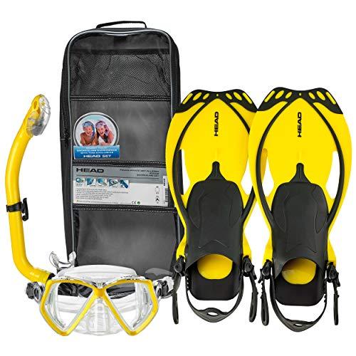 Cabeza por Mares–Máscara, Snorkel y aletas/aletas de buceo (niños)–Scuba buceo Snorkel conjuntos, amarillo