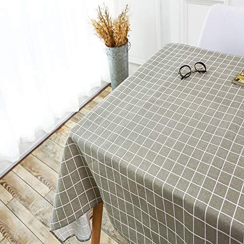 DJUX weiße frische kleine blaue Linie dicke Baumwolle Leinen Quaste Tischdecke frische literarische Tischdecke Teetischdecke Picknickdecke, Grau 1, 60x60cm