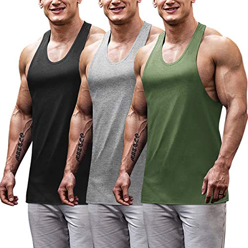 COOFANDY Men's 3 Pack Gym Tank Tops Y-Back Workout Muscle Tee Fitness Bodybuilding T Shirts (Black/Green/Medium Grey, Medium)