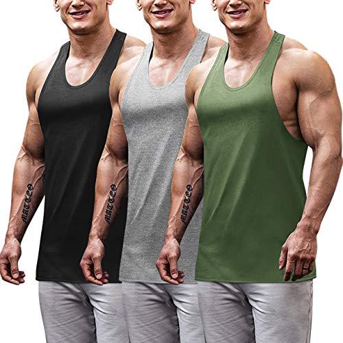 COOFANDY paquete de 3 camisetas de gimnasia para hombre, parte trasera en Y, para entrenamiento, musculación, fitness, culturismo, camisetas, Black/Green/Medium Grey, Small