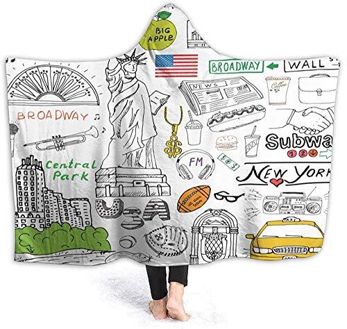 Couverture À Capuche Adulte,Couverture En Flanelle Pour Canapé Et Lit New York City Culture Metropolitan Museum Broadway Crossroad Wall Street Style Croquis Couverture De Jeu De Couverture De Tél