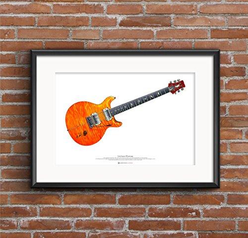 George Morgan Illustration Carlos Santana PRS Prototyp Gitarre Kunst Poster A2 Größe