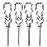 Abimars Paquete de 8 pernos de acero inoxidable con tuercas, tornillos de ojo de tornillo hechos y mosquetón de acero inoxidable