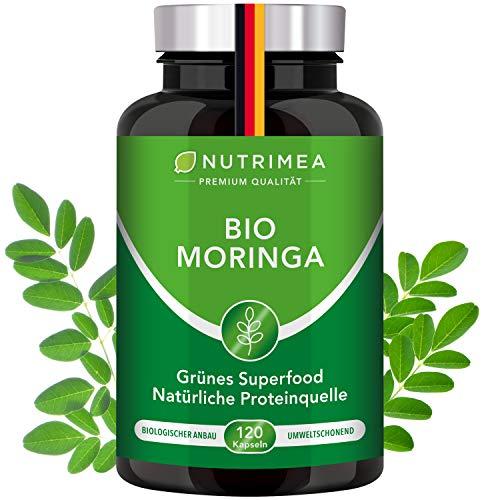 Moringa Oleifera Kapseln | BIO-Qualität OHNE Zusätze | Energy Tabs im 4 Monatsvorrat | SUPERFOOD reich an Protein Vitamin C Aminosäuren Pflanz Proteinpulver Presslinge Veganes Eiweißpulver 100% VEGAN