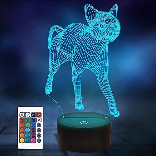Lámpara de noche LED 3D para gato, lámpara de cabecera, 16 colores, con mando a distancia, modelo de muerte, creativo, decoración de dormitorio, mejor regalo de cumpleaños, ideal para niños y hombres