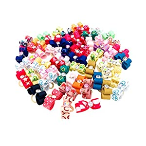 JpGdn 100Pcs/50PAIRS 0.98×0.39inch Small Dogs Hair Bows Cup Puppy Hair Bow Ties with Rhinestone for Doggie Cat Kitten Bunny Rabbit Teacup Poodle Hair Flowers Bowknot Grooming Accessories Attachment