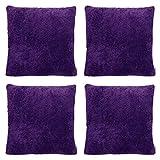 Cushion Cover Shop Lot de 4 Housses de Coussin en Polaire Super Douces pour canapé, 50 x 50 cm, Violet, 20x20 / 50x50cm