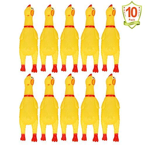 LEGEND SANDY 10 PCS Screaming Chicken, Rubber Chicken Noisemakers for Kids and Pets, Shrilling Shrieking Squawking Chicken Novelty for Gag Gift Party Favors, Rubber Chicken Squeaky Toy for Small Dogs
