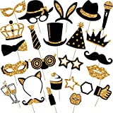 Zonon 24 Pieces Party Photo Booth Props Mix of Hats, Wine Glass, Lipstick, Tie, Crowns and More for Variety Party Birthday Parties Weddings (Golden)
