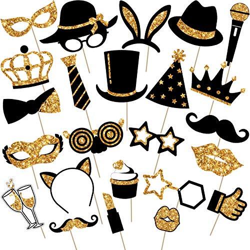24 Stücke Party Foto Booth Props Mix von Kappen, Weinglas, Lippen Stift, Krawatte, Kronen und mehr für Vielfalt Party Geburtstag Party Hochzeiten (Golden)