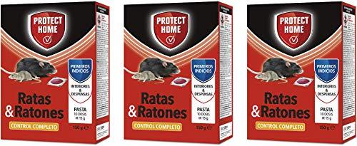PROTECT HOME Raticida Mata Ratas en Pasta para Interior y despensas Alta eficacia y atracción Ratones-10 x 15 gr (150gr) – Pack de 3 Unidades, Rojo