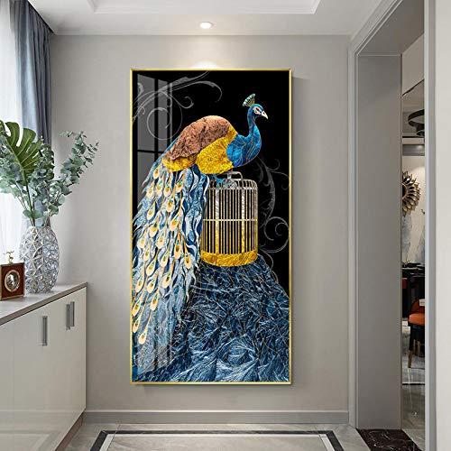 Arte de lujo pavos reales de pie rama café cuadros modernos arte de la pared para el porche sala de estar oficina decoración 27.5 x 55 pulgadas (70 x 140 cm) 1 unids Frameless
