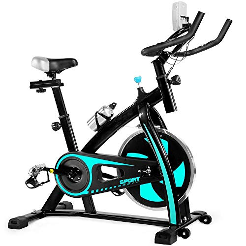 MGYQ Aerobic Indoor Training Exercise Bike, Monitor, Heart Rate Sensors, Adjustable Seat