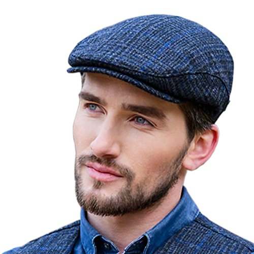 Mucros Weavers Police Tweed Flat Cap - Gray Hat Featuring Thin Blue Line, Large
