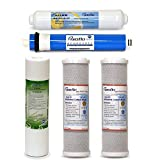 Puroflo 5 pc RO Water Filter Replacement Set, 5-Stage 1-Year, Reverse Osmosis Under-Sink Drinking System...