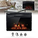 24' Wall Insert 1400W Electric Fireplace Heat w/Remote LED Flame Timer Heater
