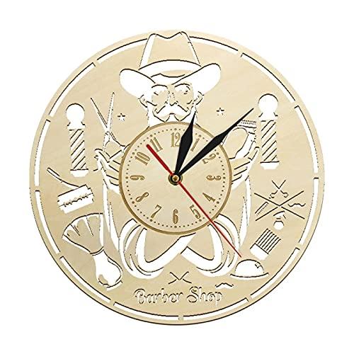 Reloj de Pared Barbería Reloj de Pared Decoración de Madera Salón Arte Colgante Peluquería Letrero rústico Peluquería Reloj de Pared de Madera Reloj Peluquería Regalos