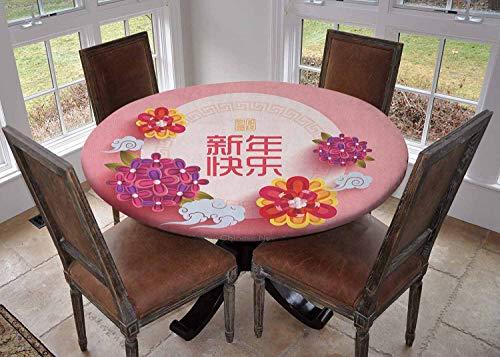 Ronde tafelkleed keuken decoratie, tafelblad met elastische randen, Kleurrijke Feestelijke viering Iconen Lantaarns Knopen Bloemen Cultuur Multi kleuren, picknick tafelkleed