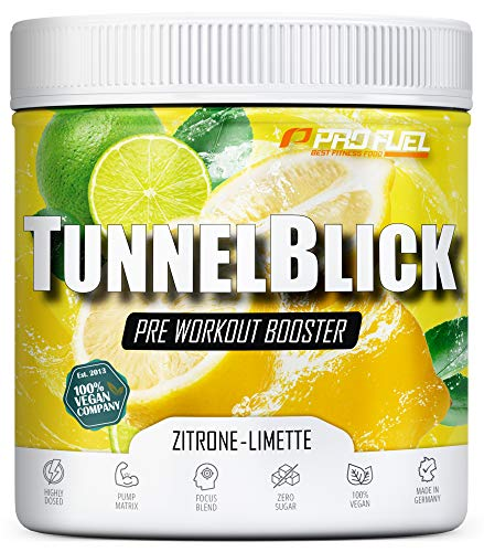 Pre-Workout-Booster Trainingsbooster Tunnelblick mit Citrullin, Taurin, Koffein & Guarana - MADE IN GERMANY - Zitrone & Limette