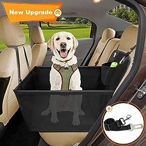 Wimypet Impermeable Protector de Asiento de Coche para Mascota, Asiento del Coche de Seguridad para Perros Gatos, Material Oxford 600D+PVC Inferior con Cinturón de Seguridad para Viaje -59x49x46 cm