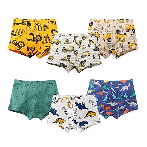 Lemon2010 6-Pack Baby Toddler Underwear 100% Combed Cotton Little Boys' Boxer Briefs Dinosaur Truck Shark Kids Undies (Excavator, 3-4 Years)