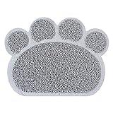 Tovaglietta per stuoia di alimentazione per gatti cucciolo di cane cucciolo zampa carina piatto da letto in PVC ciotola cibo acqua tovaglia pulita-grigio, 30x40 cm