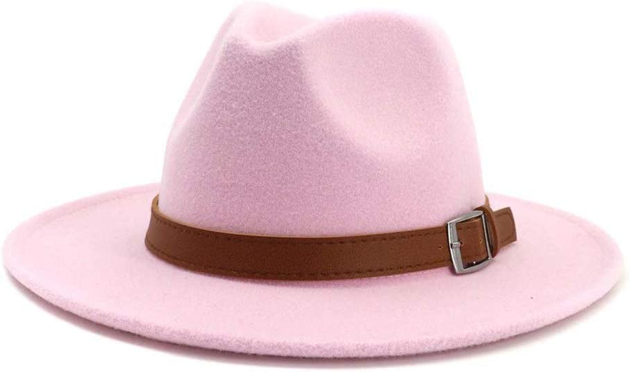 LHZUS Hats Ladies Handmade Cotton Flat Brim Fedora Hat Jazz Hat Men Casual Panama Hat Belt Buckle Decoration Autumn Winter (Color : Pink, Size : 59-60cm)
