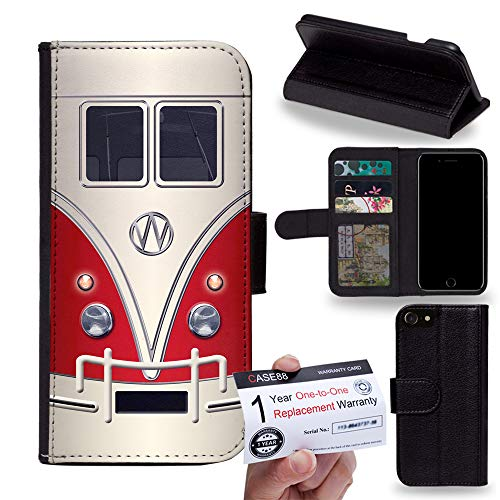 PU Leather Flip case Phone Wallet for [Huawei nova 4] - Art Fashion Retro Bus Mini Van (Red)