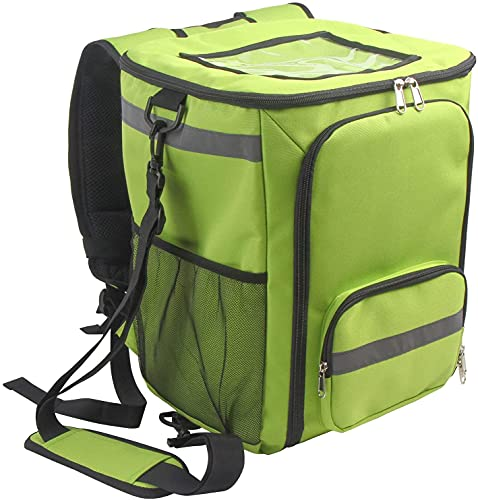 FOKICOS Thermal Food Delivery Backpack Pizza Delivery Backpacks Mesh Pocket and Receipt Window Waterproof Cooler Bag (GREEN)