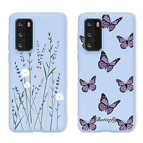 KAPUCTW Pacote com 2 capas para Huawei P20 Pro antiarranhões, capa traseira de TPU macia de 15 cm, capa protetora de corpo inteiro de borracha de gel à prova de choque, capa de proteção contra quedas, borboleta de flor