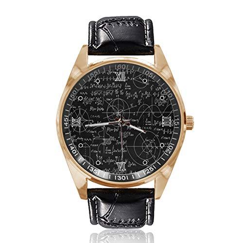 Choeter Parabola Matemáticas Personalizado para Hombre Mujeres Reloj Impermeable Reloj de Pulsera de Cuarzo de Acero Inoxidable con Banda de Cuero Reemplazable